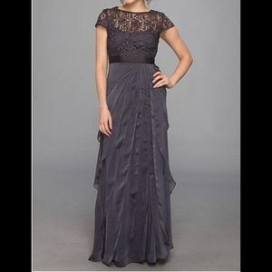 Adrianna Papell Cap-sleeve Lace Tiered Gown